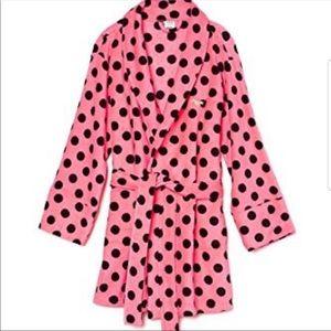 Victoria Secret Pink and Black Polka Dot Robe